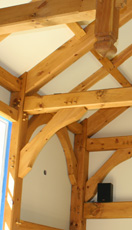 ornate interior post and beam work